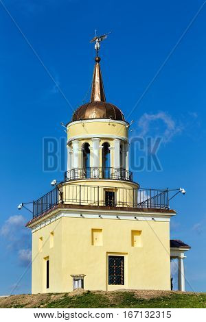 Nizhny Tagil Russia - September 09 2016: The symbol of the city Nizhny Tagil Tower on top of a mountain in summer day
