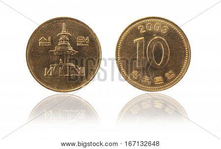 Coin 10 won KRW . South Korea