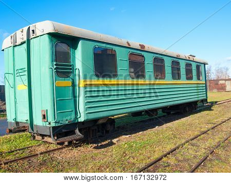 Green narrow-gauge railway wagon . Russia .