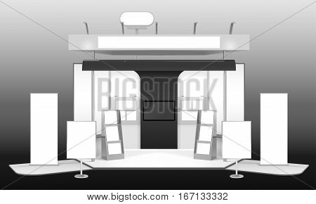 Monochrome realistic 3d design mockup of exhibition advertising stand with banners leaflet racks tv info boards vector illustration