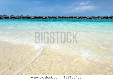Water bungalows resort at islands. Indian Ocean Maldives