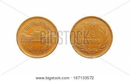 Japanese  ten 10 yen coin year .