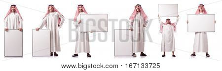 Arab man with blank board on white