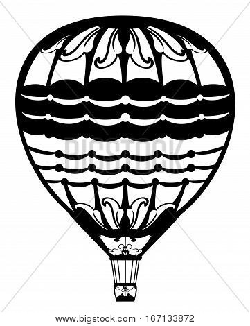 hot air balloon black and white vector design