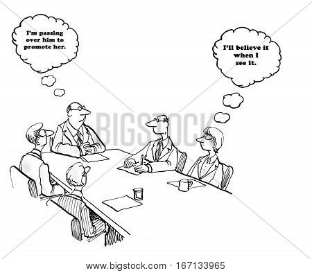 Business cartoon about a boss about to promote a female employee.