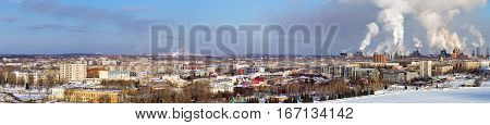 Environmental problem of environmental pollution and air in large cities. Bird's-eye view on the central city Nizhny Tagil
