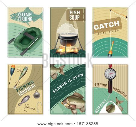 Freshwater fishing 6 mini posters collection with fisherman equipment pictures tactics tips and free recipes isolated vector illustration