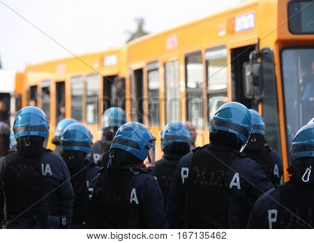 Vicenza, Vi, Italy - January 28, 2017: Italian Police Riot Squad With Body Armor In The City