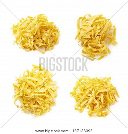 Pile of fresh raw fettuccine ribbon pasta isolated over the white background, set of four different foreshortenings