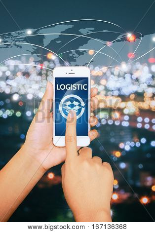 Logistic concept with hand holding digital smartphone shipping icons and world map