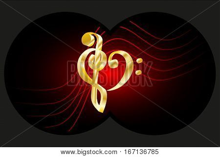 Binoculars view , Heart - violin and bass clef , Music note stave and heart violin and bass clef