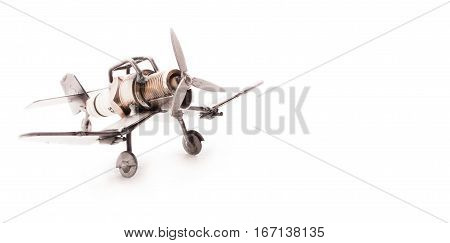 Airplane Toy Handmade From Waste Materials Isolated On A White Background