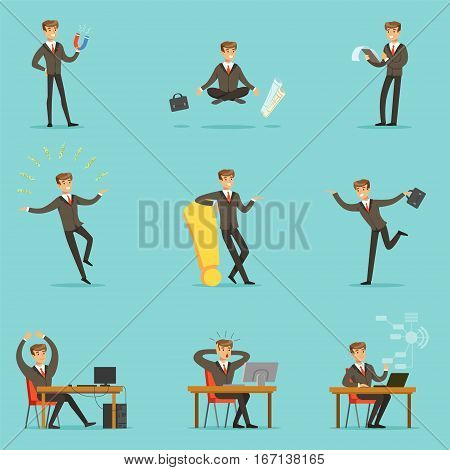 Businessman Work Process Series Of Business Related Scenes With Young Entrepreneur Cartoon Character. Manager In Suit Working In The Office And Out Of It In Finance Vector Illustrations.