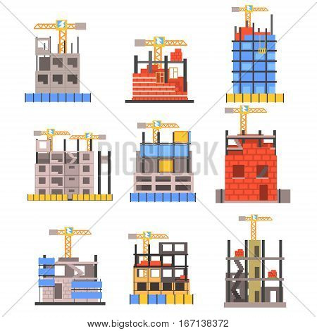 Unfinished Modern Building Construction Set With No People And Lifting Crane Set Of Icons. Suspended Construction Projects Area With Contemporary Building Constructing Equipment Vector Illustration.
