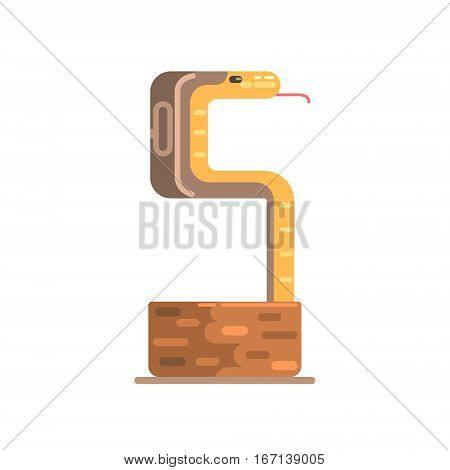 Charmed Cobra Going Out Of Wicker Basket, Famous Traditional Touristic Symbol Of Indian Culture. Colorful Vector Illustration With India Well-Known Cultural Object.