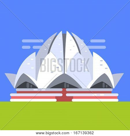 Lotus Temple In New Deli, Famous Traditional Touristic Symbol Of Indian Culture And Arhitecture. Colorful Vector Illustration With India Well-Known Cultural Object.