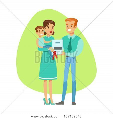 Smiling People Holding Insurance Contract , Insurance Company Services Infographic Illustration. Vector Icon With Type Of Insurance Helping People To Protect Their Property.