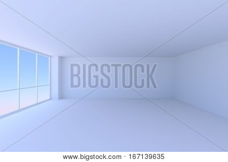 Business architecture office room interior - empty blue business office room with floor ceiling walls and large window with morning blue sky light 3d illustration.