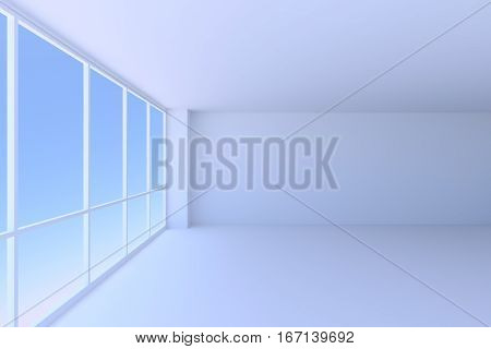 Business architecture office room interior - large window with morning blue sky light in the empty blue business office room with floor ceiling and walls 3d illustration