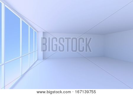 Business architecture office room interior - empty blue business office room with floor ceiling walls and large window with blue morning sky light 3d illustration