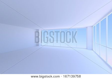 Business architecture office room interior - empty blue business office room with ceiling floor walls and two large windows with morning blue sky light 3d illustration