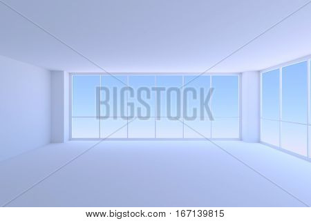 Business architecture office room interior - empty blue business office room with two large windows with morning blue sky light 3d illustration