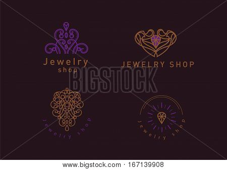 Set Line Logo, A Diamond In A Frame, For Jewelery Shop