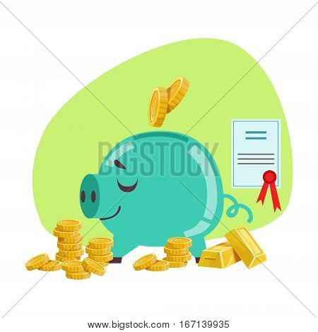 Piggy Bank Savings Protected By Insurance Contract , Insurance Company Services Infographic Illustration. Vector Icon With Type Of Insurance Helping People To Protect Their Property.