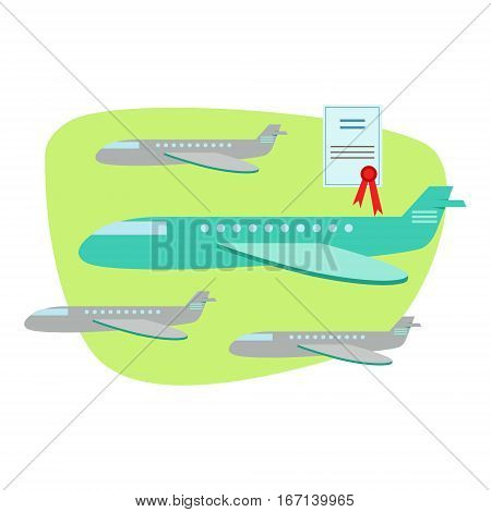 Air And Plane Travel Protected By Insurance Contract , Insurance Company Services Infographic Illustration. Vector Icon With Type Of Insurance Helping People To Protect Their Property.