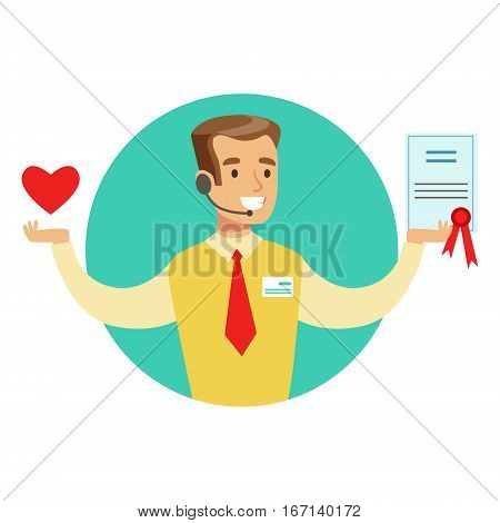 Seller Offering Life Insurance Contract, Insurance Company Services Infographic Illustration. Vector Icon With Type Of Insurance Helping People To Protect Their Property.