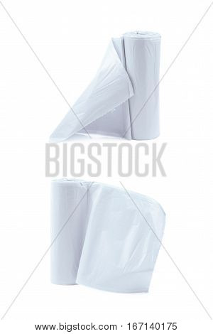 White plastic polyethylene trash bag roll isolated over the white background, set of two different foreshortenings