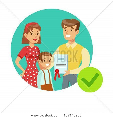 Smiling Family Holding Insurance Contract, Insurance Company Services Infographic Illustration. Vector Icon With Type Of Insurance Helping People To Protect Their Property.