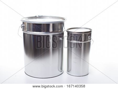 two Metal painting Pails isolated on white