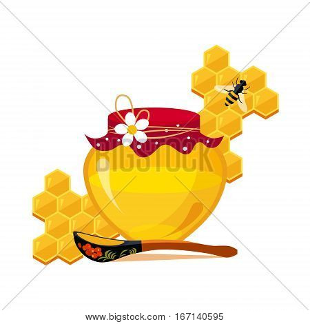 Honey Jar, Spoon And Honeycombs With Bee Cartoon Illustration. Cute Colorful Honey Related Vector Sticker Isolated On White Background.