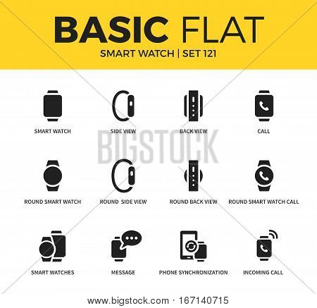 Basic set of round smart watch, side view and call icons. Modern flat pictogram collection. Vector material design concept, web symbols and logo concept.