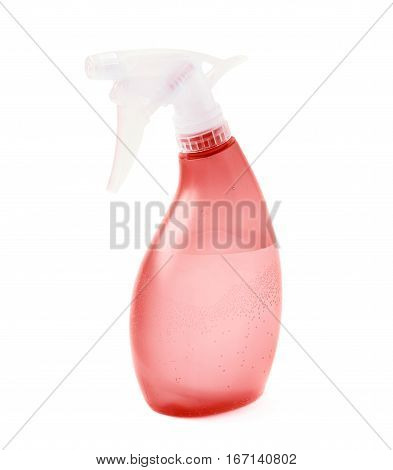 Red plastic pulverizer spray isolated over the white background