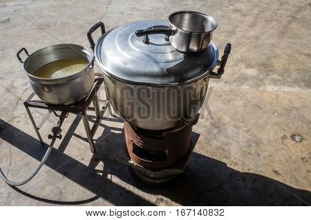 THE Fish maw soup cooking in pot