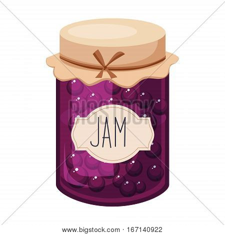 Sweet Black Currant Purple Jam Glass Jar Filled With Berry With Template Label Illustration. Cute Colorful Sweet Natural Jelly Related Vector Sticker Isolated On White Background.