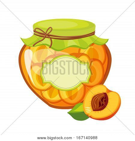 Sweet Apricot Orange Jam Glass Jar Filled With Fruit With Template Label Illustration. Cute Colorful Sweet Natural Jelly Related Vector Sticker Isolated On White Background.