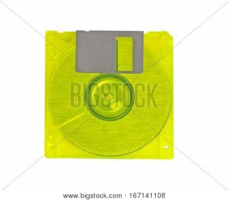 Old floppy disc on a white background