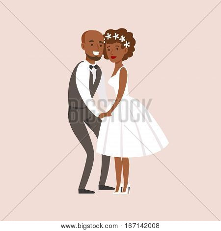 Newlyweds Posing With Bride Being Very Short At The Wedding Party Scene. Cute Bride And Groom Couple In Classic Outfits Simple Vector Illustration On Pink Background.