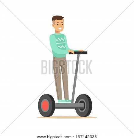 Asian Man In Blue Sweater Riding Electric Self-Balancing Battery Powered Personal Electric Scooter Cartoon Character. Happy Person Using Modern Technology Gyro Vehicle Vector Illustration.