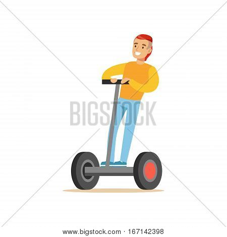 Guy With Cool Haircut In Yellow Sweater Riding Electric Self-Balancing Battery Powered Personal Electric Scooter Cartoon Character. Happy Person Using Modern Technology Gyro Vehicle Vector Illustration.