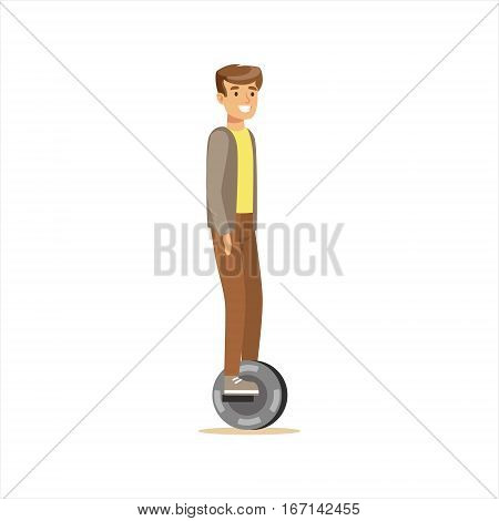 Man In Grey Jacket And Brown Pants Riding Electric Self-Balancing Battery Powered Personal Electric Scooter Cartoon Character. Happy Person Using Modern Technology Gyro Vehicle Vector Illustration.