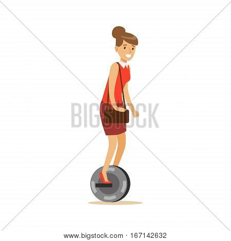 Woman In Red Top With Handbag Riding Electric Self-Balancing Battery Powered Personal Electric Scooter Cartoon Character. Happy Person Using Modern Technology Gyro Vehicle Vector Illustration.