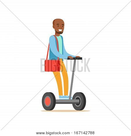 Black Man In Blue Sweater Riding Electric Self-Balancing Battery Powered Personal Electric Scooter Cartoon Character. Happy Person Using Modern Technology Gyro Vehicle Vector Illustration.
