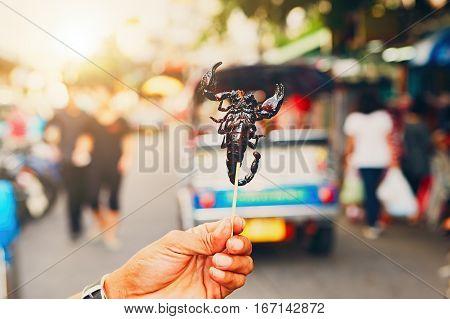 Thai Vendor Showing Roasted Scorpio