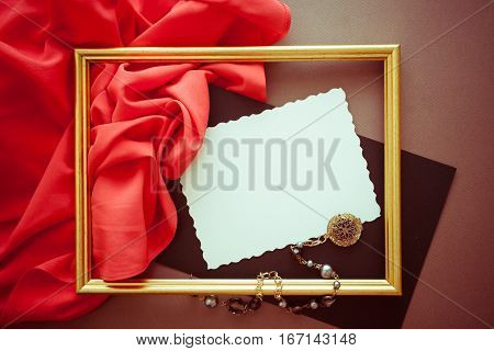 bright colorful background with red silky drapery