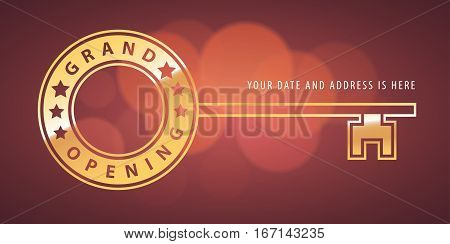 Grand opening vector banner. Key shape template design element for new store or startup opening ceremony