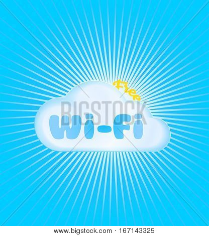 vector icon in the form of a cloud with the word Wi fi blue and the word free in the form of a yellow sun near the clouds on a blue background with rays